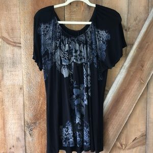 Scoop neck black and floral top plus size